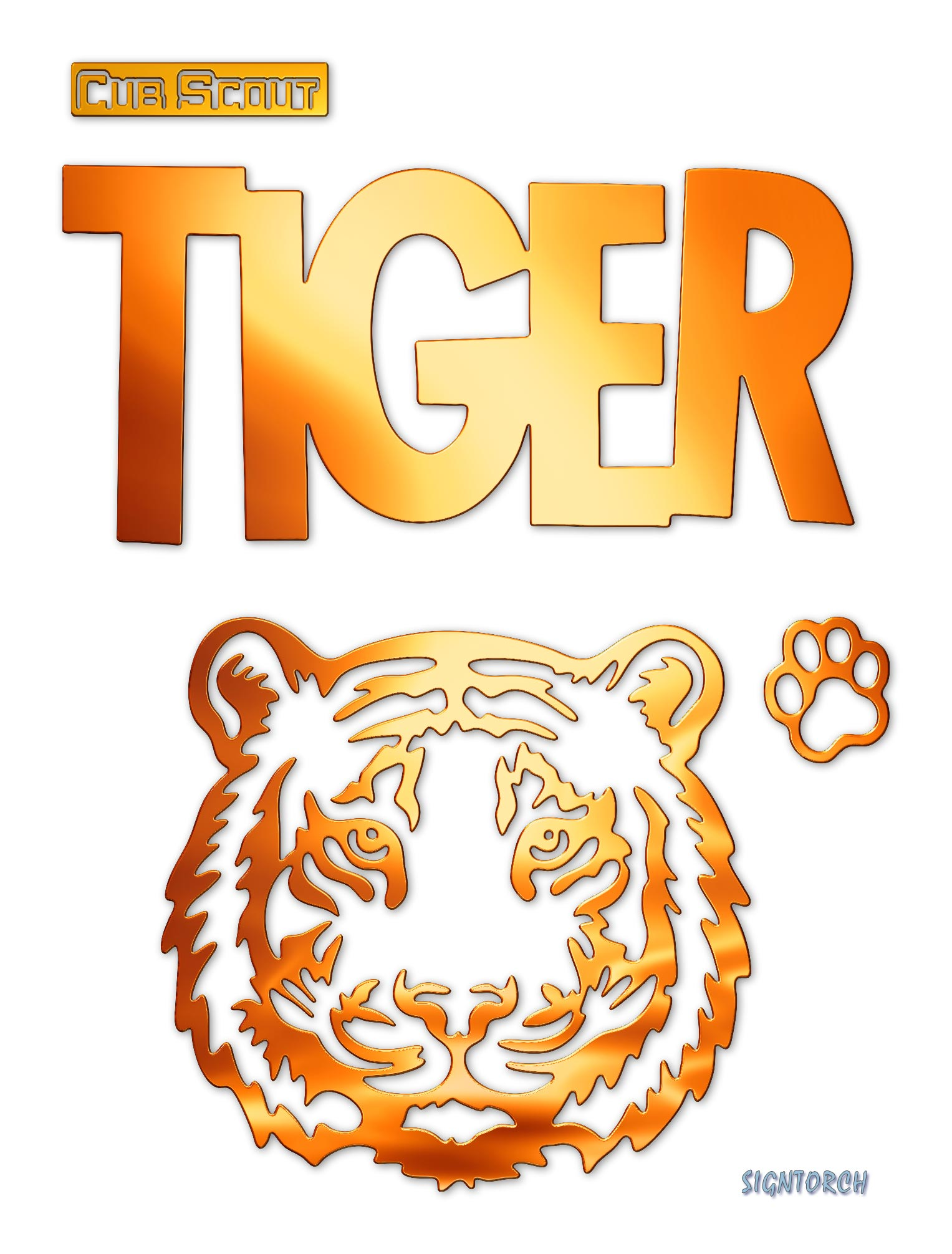 Cub Scout Tiger Readytocut Vector Art For Cnc Free Dxf Files