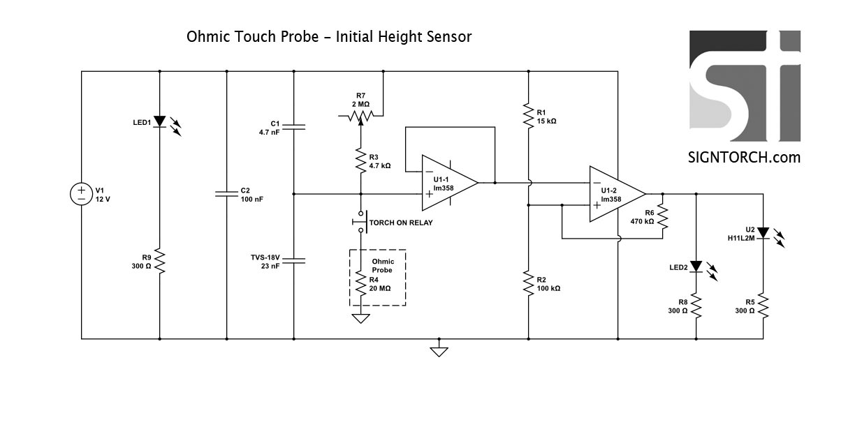 plasma torch initial height sensor
